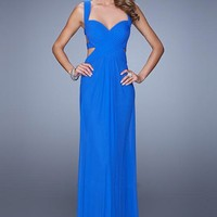 La Femme 21160 Sweetheart Open Back Long Blue Prom Dress