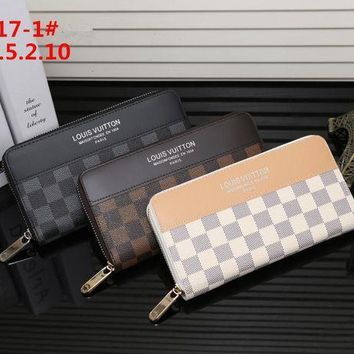 DCCK Louis Vuitton' Multicolor Tartan Long Section Zip Double Layer Wallet Handbag Purse