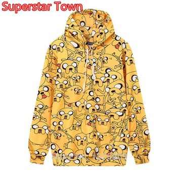 New Autumn Style Lolita Harajuku Hoodie Adventure Time Jake Dog Lovely Print Hooded Sweatshirt Women Girls Casual Tops Female