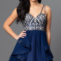 Short Sweetheart Navy-Blue Homecoming Dress