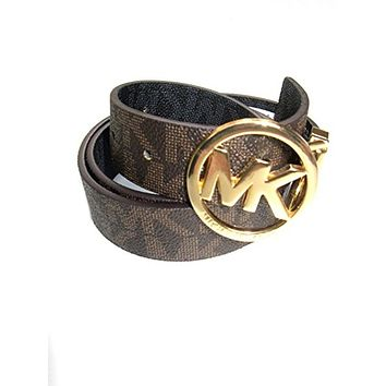 Michael Kors Womens Twist Reversible Circle Logo Belt Gold/ Brown & Black