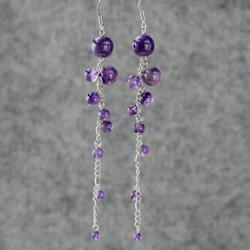 Amethyst Linear Long Chandelier Earrings Bridesmaids gifts Free US Shipping handmade Anni Designs