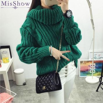In stock Women Winter Sweaters and Pullovers Turtleneck Sweater Loose Thicken Warm Twist Knitted Sweater pullover Pull Femme