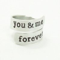 You and me forever ring - Relationship ring Promise ring Couple ring - Stamped handmade ring girlfriend ring boyfriend ring