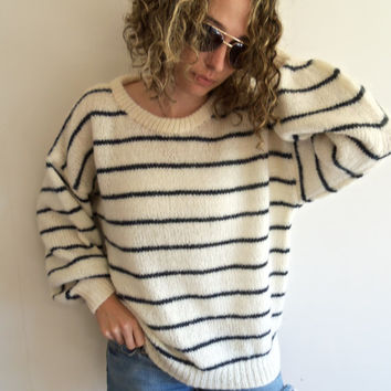90s Off White and Dark Blue/Black Striped Fuzzy Oversized Knit Sweater