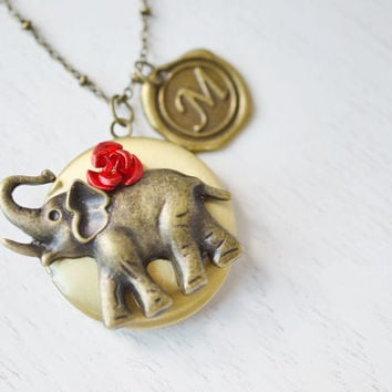 personalized elephant locket,lucky elephant bridesmaid necklace,locket jewelry,best friend gift,lucky symbol locket,initial locket,christmas