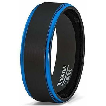 Men's Two Tone Brushed Black Tungsten Ring With Blue Stepped Edges - 8mm
