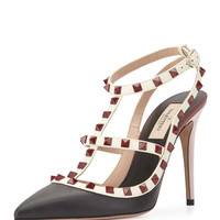 Lacquered Rockstud Leather Pump, Nero/Ivory/Red