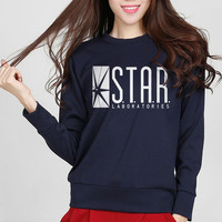 2017 New Fashion Autumn Funny American Drama The Flash Sweatshirt Star Laboratories Women Comic Books TV Star Labs Slim Hoodies