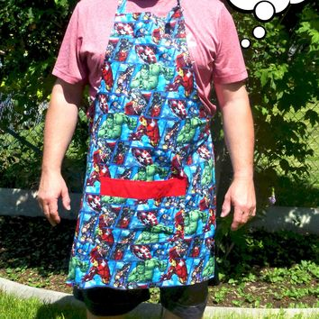 Avengers Apron for Men, Aprons, Marvel Apron, Mens / Women's Avengers Apron, Superhero Apron