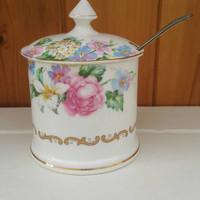 Crown Staffordshire bone china preserves pot/brendon design/English fine china /floral china pot/ships worldwide from UK