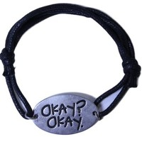 "Licensed The Fault In Our Stars Cord and Pewter Adjustable ""Okay?Okay."" Bracelet"