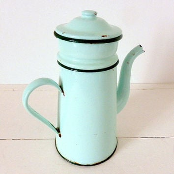 Vintage French Enamel Coffee Pot Cafetiere