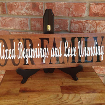 Mixed Beginnings Ceramic Tile - Our Family Wooden Sign - Wooden Look Blended Family Sign