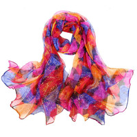 Silk Blend Hot Stamping Multicolor Print Scarf