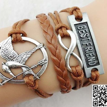 Best friend, infinity, hunger games - hungry bird silver bracelet, wax brown leather cord bracelet personalization