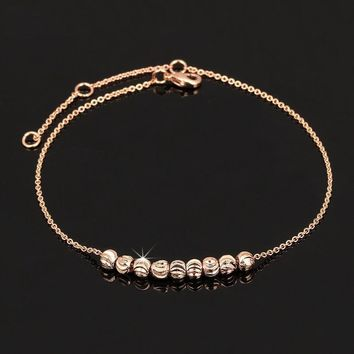 Simple Style Metal Beads Anklets Chain