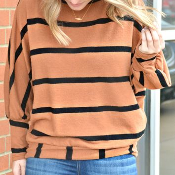 Give Me A Hint Stripe Top - Camel
