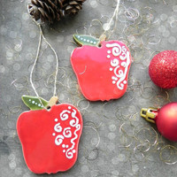 Apple Christmas Ornaments Red Green Ceramic Winter Home Decoration Gift Set of 2
