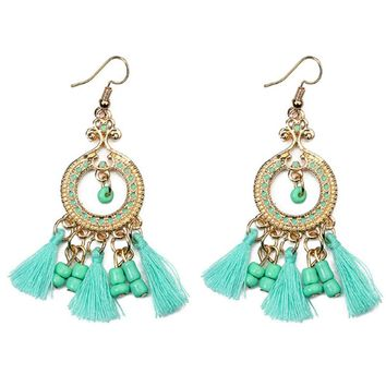 Design 5Colors Cloth and Beads Tassels Oil Painting Round Alloy Drop Earrings
