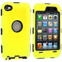 Yellow Deluxe Hybrid Premium Rugged Hard Soft Case Skin Cover for iPod Touch 4th Generation 4G 4:Amazon:MP3 Players & Accessories