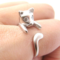 Adorable Kitty Cat Kitten Sleek Animal Wrap Around Ring in Silver | US Sizes 4 to 8