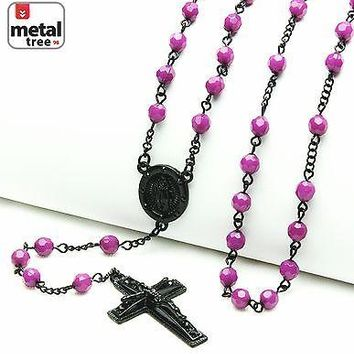 "Jewelry Kay style Fashion 6mm Purple Bead Guadalupe Jesus Cross 28"" Rosary Necklace HR 600 BKPU"