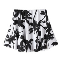 ROMWE Coconut Trees Elastic Pleated Print White Skirt
