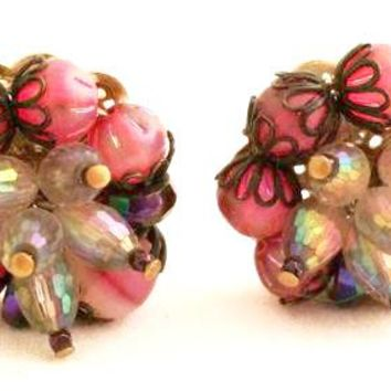 Hobe Vintage Jewelry Crystal Cluster Clip on Earrings