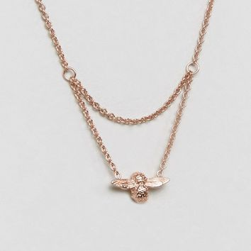 Olivia Burton Moulded Bee Drop Rose Gold Necklace at asos.com
