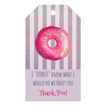 Donut Pun Funny Cute Thank You Gift Tags