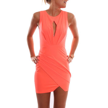 Orange Red Sleeveless Cutout Ruched Bodycon Mini Dress