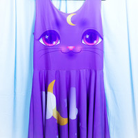 Miracle Kitten Printed Skater Dress (Moon Kitty, Clouds, Crescent Moon)  Fairy Kei Pastel Goth Kawaii