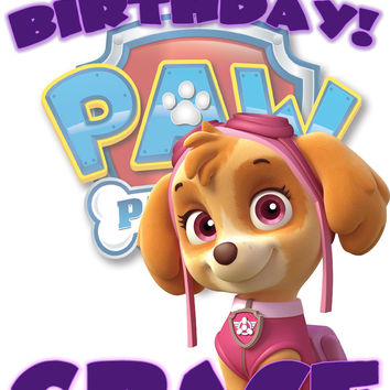 Personalized Custom Birthday T-shirt Paw Patrol Skye