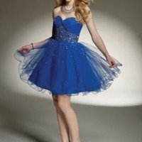 Buy Tulle Strapless Sweetheart Neckline with Rouched Bust 2012 Mini Ball Gown Cocktail Dress