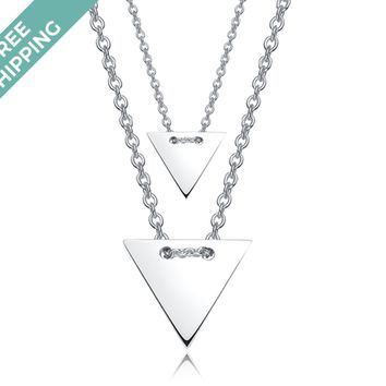 kiz&Co Sterling Silver Double Triangle Necklace