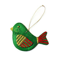 Chubby Bird Ornament Christmas ornament hand painted and decoupaged wood rustic bird holiday ornament in green, red, metallic gold
