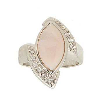 Asymmetrical Genuine Pink Mother of Pearl and Cubic Zirconia Ring