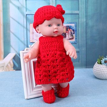 Vinyl Reborn Baby Simulation Doll with Knit Dress Outfits Soft Lifelike Girls Sleeping Born Doll Toys Kids Birthday Gift