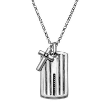 SilveRado™ for Mens 1/4 Carat T.W. Black Diamond Sterling Silver Cross Link & Textured Dog Tag Necklace for Men