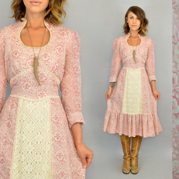 vintage 1970s boho DUSTY ROSE + CROCHET gunne sax wannabe hippie prairie ruffled midi dress, extra small-small