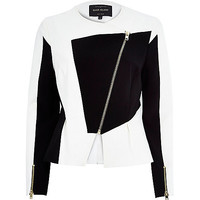 River Island Womens White splice peplum scuba jacket