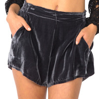 LoveShackFancy || True waist shorts in plush velvet dark sky