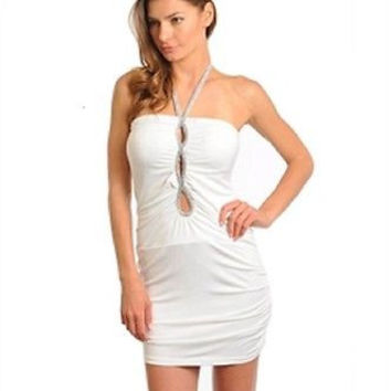 Junior's Ivory Silver Strap Halter Bodycon Dress