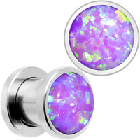 Pink Synthetic Opal Stainless Steel Screw Fit Plug Set