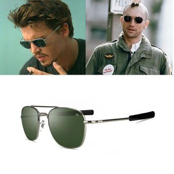 4ffb246651 Classic Sunglasses Men Brand Designer AO Sun Glasses For Male American Army  Military Optical Glass Lens