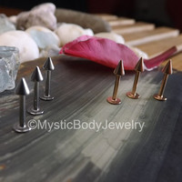 """Labret Piercing Spikes Rose Gold 16g 1.2mm Conch Tragus Ring Stud Body Jewelry Monroe Silver Spike 5/16"""" Pierced Helix Stud Earring Posts"""