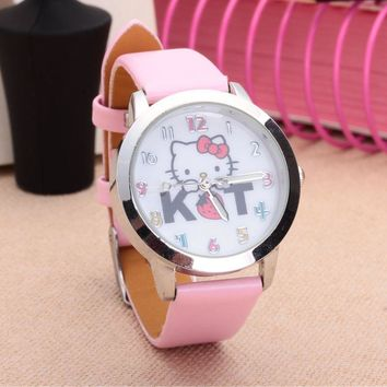 Cartoon Beautiful girl Strawberry Hello Kitty cat KT style Color number dial children students girl's leather quartz watch