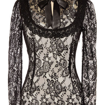 Dark Victoria Black Lace Steampunk Blouse