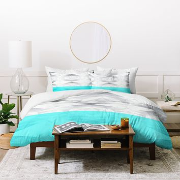 Gabi Lattice Aqua Duvet Cover
